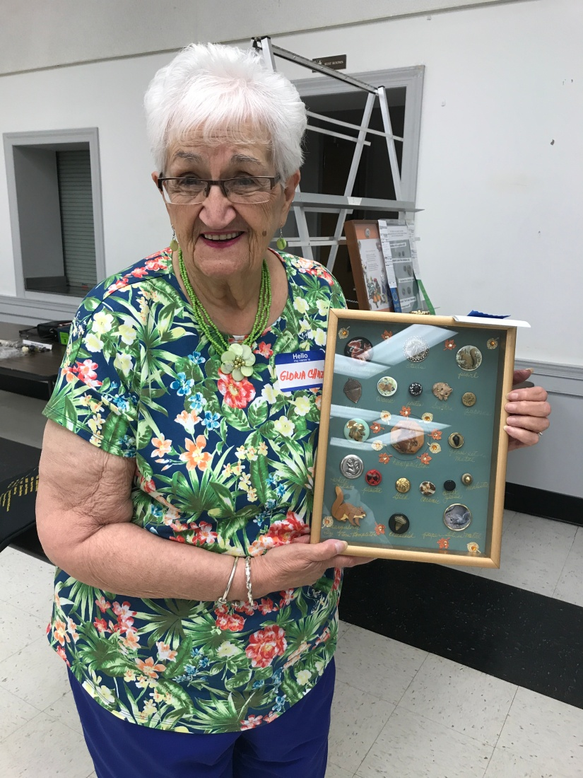 Gloria Chazin with her first prize card of squirrels and acorns